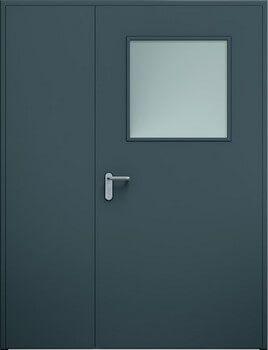 Drzwi ECO dwuskrzydlowe niesymetryczne przeszklenie