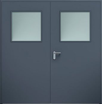 Drzwi ECO dwuskrzydlowe przeszklenie antracyt